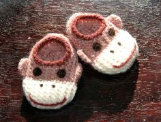 Wool Baby Sock Monkey Slippers - Light Pink, Wool Baby Slippers, Crib Shoes, Booties