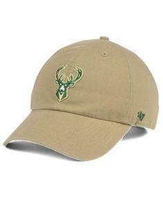 '47 Brand Milwaukee Bucks Khaki Clean Up Cap - Tan/Beige Adjustable