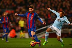 Lionel Messi of Barcelona battles for the ball with Marcelo Diaz of Celta Vigo during the La Liga match between FC Barcelona and RC Celta de Vigo at the Camp Nou on March 4, 2017 in Barcelona, Catalonia.
