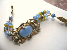 Blue Danube ... vintage brooch natural agate magnetic by ageratum