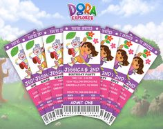 Dora The Explorer Ticket Invitation Dora The By Templatemansion