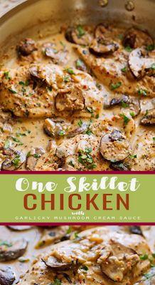 One Skillet Creamy Chicken Mushroom Recipe with Garlicky Sauce Creamy Chicken Breast Recipes, Chicken Mushroom Recipes, Chicken Recipes, Vegetarian Recipes, Cooking Recipes, Healthy Recipes, Dinners, Meals, Pinterest Recipes