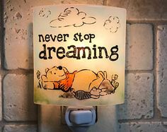 """Winnie the Pooh night light - """"Never stop dreaming"""""""