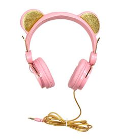 Light pink. Size-adjustable, on-ear headphones. Ears at top with glittery sections. Fit mobile phones with a 3.5-mm socket. Length of cable approx. 47 1/4
