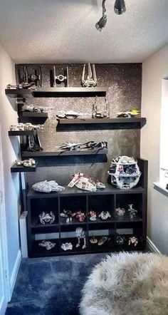Lego Shelves, Lego Storage, Storage Ideas, Ikea Storage, Wall Storage, Display Shelves Ikea, Storage Units, Trendy Bedroom, Kids Bedroom