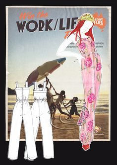 Completed presentation for Fashion Illustration - background (theme, colour), illustration and production sketch.