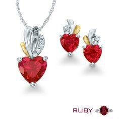 Gorgeous looking Ruby gemstone pendent with earrings  gives the sparkling look to your face.