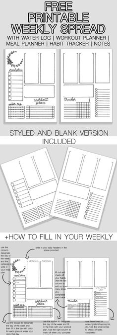 Awesome Free Bullet Journal Weekly Spread Printable - The Petite Planner Free Weekly Spread Printable for Your Bullet Journal. Including water log, meal planner, workout planner, and mini habit tracker. Planner Pages, Printable Planner, Meal Planner, Weekly Planner, 2015 Planner, Weekly Schedule, Blog Planner, Planner Ideas, Life Planner