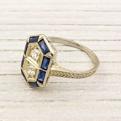 18k White Gold Diamond and Sapphire Art Deco Ring