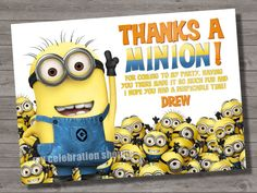 Despicable Me Thank You Card to Match Despicable Me Birthday Party Invitation - Digital Print File - My Celebration Shoppe on Etsy, $6.50