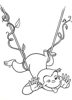 Curious George Hanging on Floating Tree Root Coloring Page - NetArt Turkey Coloring Pages, Truck Coloring Pages, Mandala Coloring Pages, Coloring Pages To Print, Printable Coloring Pages, Free Coloring, Coloring Pages For Kids, Coloring Books, Frozen Coloring Sheets