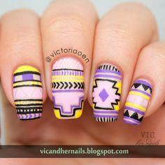 Vic and Her Nails: VicCopycat -  Neon Tribal Nail Art by Wondrously Polished