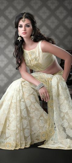 79799, Party Wear Sarees, Embroidered Sarees, Bridal Wedding Sarees, Net, Machine Embroidery, Cut Dana, Kundan, Bugle Beads, White and Off White Color Family