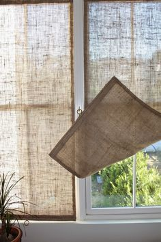 DIY burlap window panels by Caitlin Long of The Shingled House blog