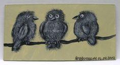 DREI KLEINE SPATZEN von Herbivore11 kleine Kunst Dominokarte Spatz Minibild Bird