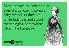 Some people couldnt be nice even if a Unicorn shoved a Fairy Wand up their ass while Judy Garland stood there singing Somewhere Over The Rainbow.