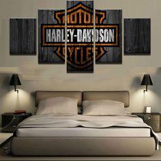 Large Framed Harley Davidson Motorcycles Canvas Barn Wood Style #harleydavidson #harley #motorcycles #wallart #canvas #homedecor