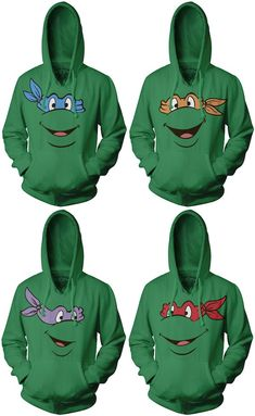 teenage mutant ninja turtle hoodies. @Morgan Powell could you imagine all of us with these? Haha Robert would be parkoring everywhere thinking he was a ninja