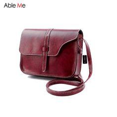 AbleMe 2017 Fashion Flap Mini Messenger Bags Candy Color Girl's Spring Crossbody Handbag Leather Drawstring Female Shoulder Bags