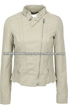 new 2012 white leather jacket for women 100% pure lamb skin