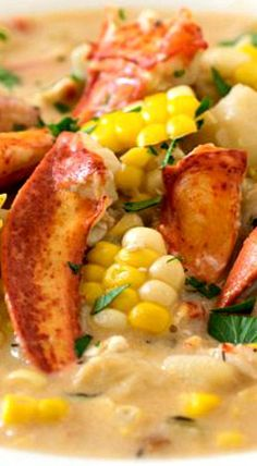 Lobster Corn Chowder - The tastes of summer at the beach in a bowl! A light and creamy super flavorful broth loaded with chunks of lobster, corn and potatoes. Crab And Corn Chowder, Chowder Soup, Chowder Recipes, Chili Recipes, Fish Recipes, Seafood Recipes, Soup Recipes, Cooking Recipes, Lobster Chowder