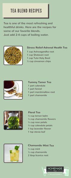 Floral Tea, Mint Tea & Stress Relief Tea Blend Recipes by Homemade Recipes