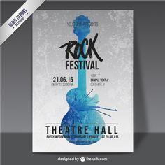 Cartel de festival de rock de acuarela