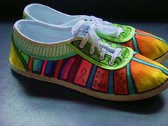 handpainted tennis shoes .block rainbow toes on ETSY!