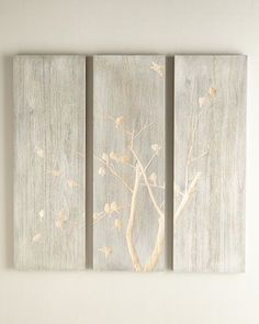 Three-Piece Willow & Bird Wall Panel at Horchow.