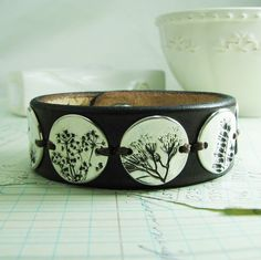 Summer's Farewell No. 4, PMC OOAK Jewelry, Fine Silver and Leather Cuff, Natural Plant Impressions, Artisan Handmade Bracelet