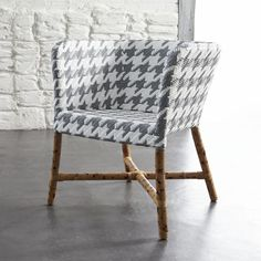 Como Grey and White Woven Chair  | Crate and Barrel