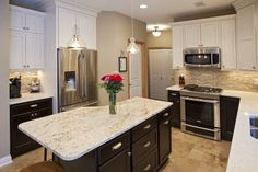 Apple Valley Kitchen and Main Level Remodel Kitchen Layouts With Island, Kitchen Island, Cream Cabinets, Apple Valley, Kitchen Images, Transitional Style, Kitchen And Bath, Bath Ideas, Minnesota