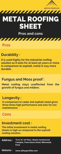 Pros and Cons of Metal Roofing Sheets Industrial Roofing, Metal Roof Installation, Ice Dams, Residential Roofing, Roofing Systems, Roofing Materials, Shapes, How To Plan, Blog
