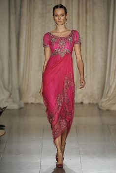Might have this made with my sari fabric! - Marchesa RTW Spring 2013 - Pink Middle Eastern Inspired Gown, so beautiful.