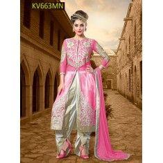 Eid Special Designer Pink  Heavy Net  Party Wear Dhoti Style Salwaar Suit-KV663MN( ARTI -525 )Karishma