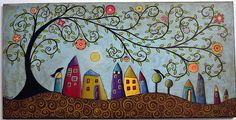 Swirl tree houses moon and blackbirds | Flickr - Photo Sharing!
