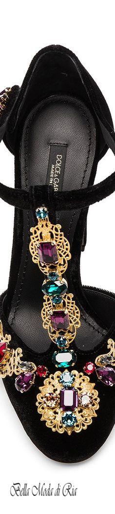 Dolce & Gabbana Jeweled Velvet T-Strap Heels