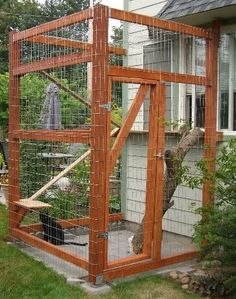 How To Create A Safe Outdoor Cat Enclosure Or Catio For your Kitty - Page 3 of 4 - Get Catnip Daily Outdoor Cat Enclosure, Cat Cages, Cat Window, Cat Run, Outdoor Cats, Space Cat, Animal Projects, Cat Furniture, Animal House