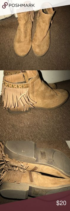 Cute fringe booties - they were only worn once - really good condition -feel free to offer Mossimo Supply Co. Shoes Ankle Boots & Booties