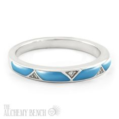 This unique turquoise wedding ring is handmade in the United States. Browse our selection of one-of-a-kind wedding rings to find the one for you. | The Alchemy Bench #BridalTransformed