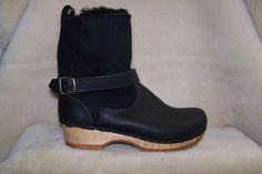 """Clog Boot 7"""" - Shearling & Leather Boot - Low Heel - Style # 9013-7""""-S"""