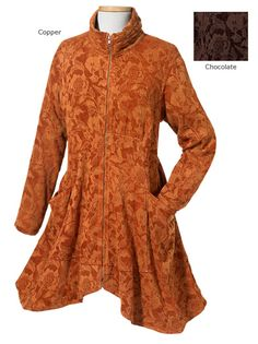 Velvety leaf-pattern jacquard drapes you in flattering pleats and rounded hem in this swing coat. Also in chocolate. Up to XXL. Celtic Clothing, Irish Clothing, Diy Clothing, Out Of The Closet, Swing Coats, Fall Collections, Holiday Fashion, Keep Warm, Hoodie Jacket