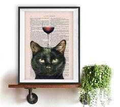 Black Cat & Wine -  Printed on Unique Vintage French Literature