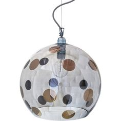 Ebb & Flow Rowan Pendant Lamp - Platinum Dots - 39cm (845 CAD) ❤ liked on Polyvore featuring home, lighting, ceiling lights, grey, glass lamp, grey lamp, polka dot lamp, glass lighting and handmade lamps