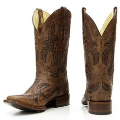 Corral Men's Distressed Brown w/Coffee and Chocolate Inlay Boots G1137