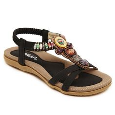 Leisure Color Block and Beading Design Sandals For Women Sexy Sandals, Fashion Sandals, Black Sandals, Comfy Shoes, Comfortable Shoes, Goth Shoes, Bohemian Sandals, Cheap Shoes Online, Beaded Sandals
