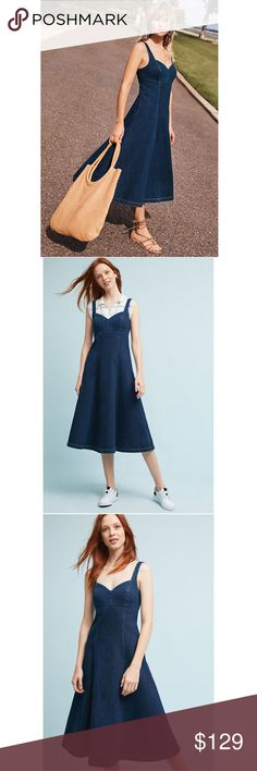 """NWT ANTHROPOLOGIE Holding Horses Corseted Dress Brand new with tags NWT ANTHROPOLOGIE Holding Horses Edythe Corseted Midi Dress. Accented with a sweetheart neckline, this corset dress by Holding Horses will add a dose of casual femininity. Cotton Size 0P Color Denim Dark Sweetheart neckline Flared midi silhouette Corseted detail Adjustable straps Back zip closure Machine wash Dimensions falls 39.5"""" from shoulder Photo credit to Anthropologie Anthropologie Dresses"""