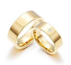 Par de Alianças Casamento Retas Aço Banhadas a Ouro   Formosa Joias
