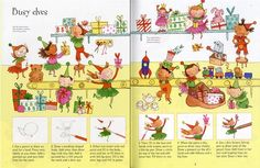 How to draw busy elves, from 'Christmas Things to Draw' from - a great activity book full of imaginative ideas for scenes.