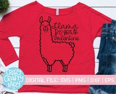 Llama Be Your Valentine SVG Cut File. Compatible with vinyl cutting machines such as Cricut and Silhouette Cameo! Great for DIY craft projects such as shirts, home decor items, decals, printing, and more. Valentines Day Shirts, Valentines For Kids, Funny Valentine, Cute Valentines Day Quotes, Shirts For Girls, Kids Shirts, Cute Quotes For Kids, Valentines Design, Vinyl Shirts